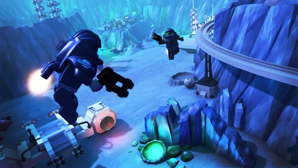 Two LEGO characters in spacesuits fly above the lavender surface of a distant planet.