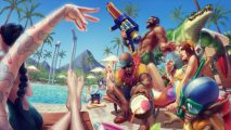 The characters of League of Legends gathered in Hawaiian shirts and beach clothes around a bright, summery pool.