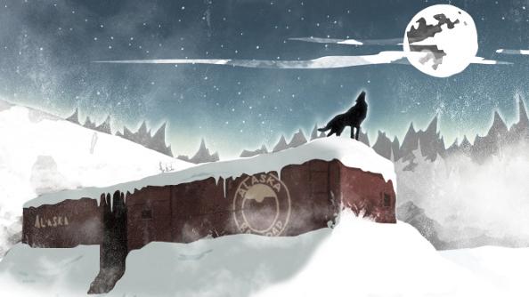 Long Dark concept art - boxcar wolf