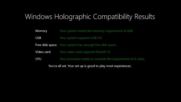 Microsoft VR minimum spec
