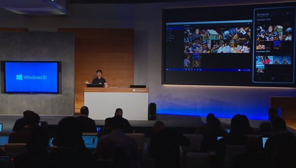 A screen capture from the Microsoft Windows 10 press conference stream.