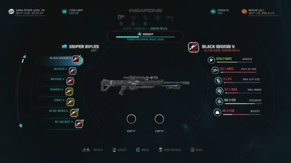 Your sniper rifles, including the Black Widow