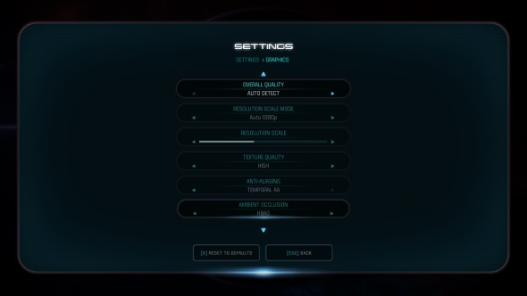 Mass Effect Andromeda PC tech review graphics menu