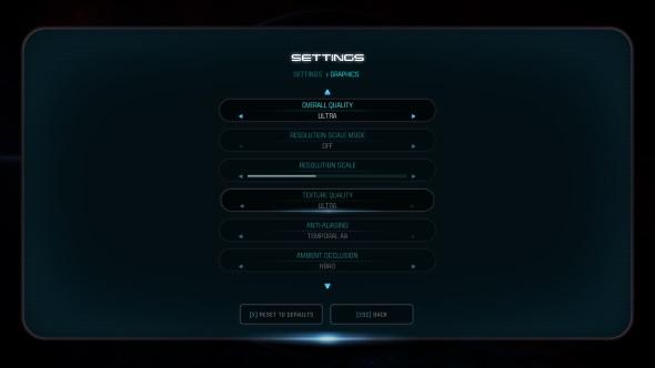 Mass Effect Andromeda PC graphics menu GTX 1060
