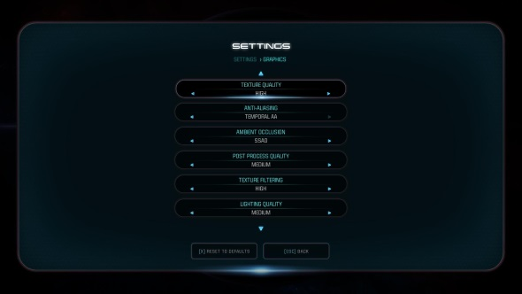 Mass Effect Andromeda PC graphics menu RX 470