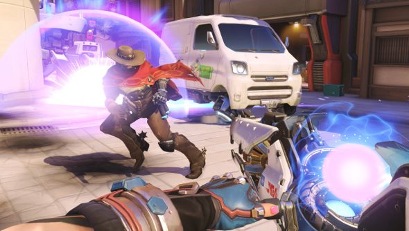 Zarya attempts to get a bead on gunslinger McCree in Blizzard's Overwatch.