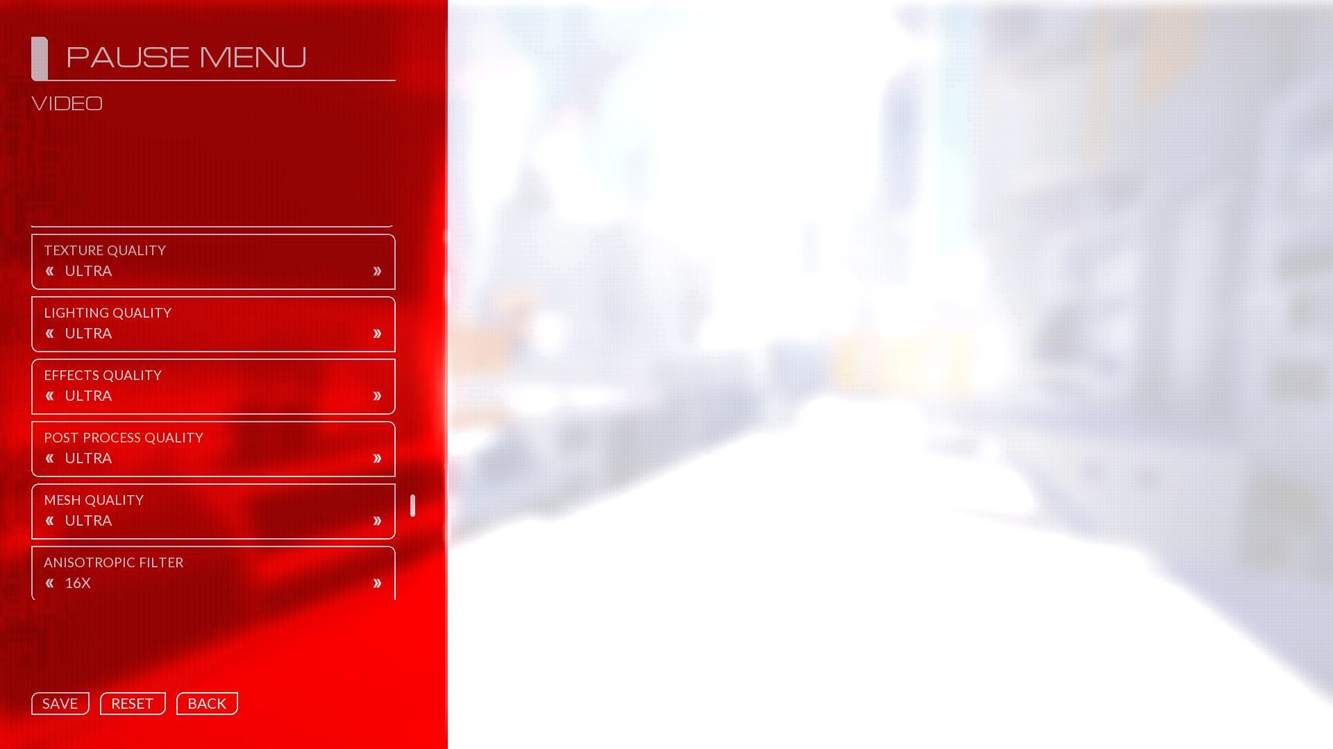 Mirror's Edge Catalyst Advanced Video menu