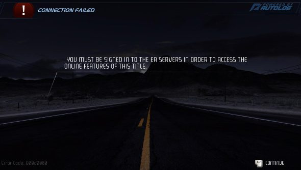 An error screen showing that Need for Speed cannot connect to its servers.