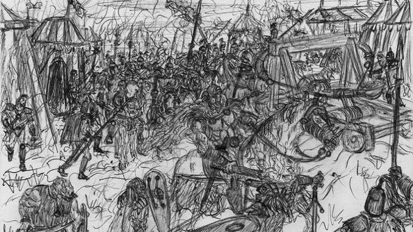 A hand-drawn sketch of medieval battle drawn by Nick Thomadis when he was young.