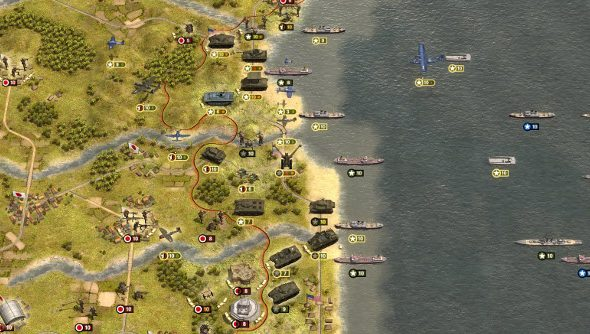 Ships and troops landing on a pacific island with hexes
