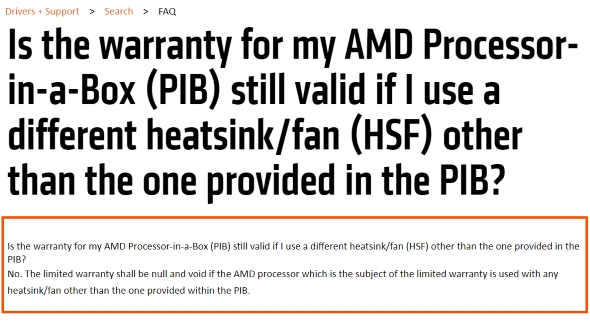 Original AMD CPU warranty
