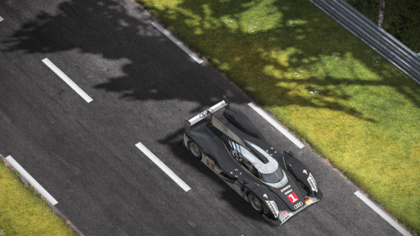An Audi Le Mans winner rocketing down the Mulsanne straight.