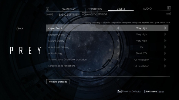 Prey PC graphics menu