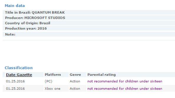 Quantum Break PC ratings board