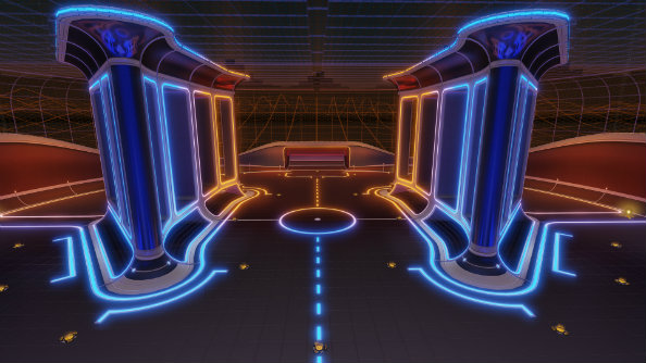 Rocket league's new experimental arena, 'Pillars', splits the pitch into three lanes