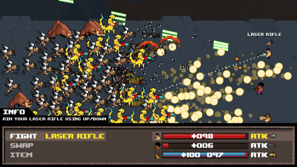 A screenshot of Serious Sam: The Random Encounter, which looks like a JRPG but with a lot more explosions and pixelated monsters.