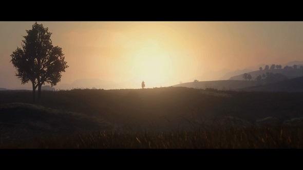 A cowboy crests a hill as the sun rises