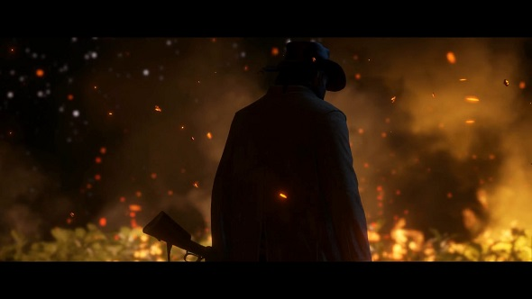 A mysterious man - possibly an antagonist - looks on as a ranch burns