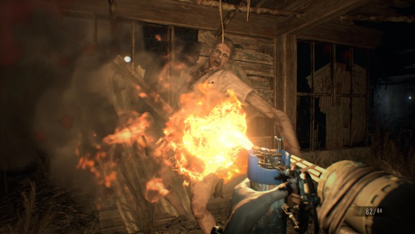 Resident Evil 7 PC review flamethrower
