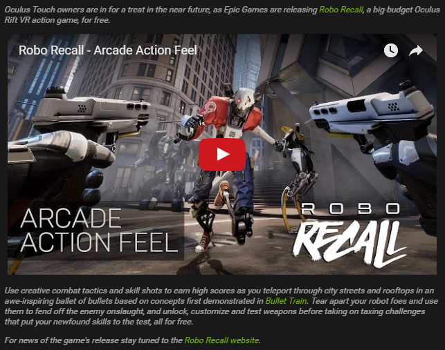 The screenshot showing support for Robo Recall in the NVIDIA 378.66 drivers
