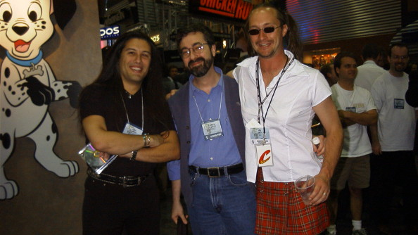 Wilson with John Romero and Warren Spector at a trade show.