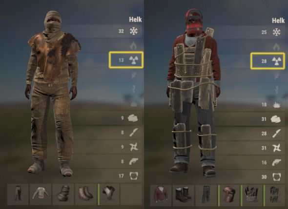 Two examples of radiation protection on a Rust character's clothing