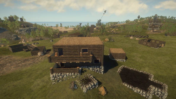 A campsite in Rust, with stone walls and a small garden