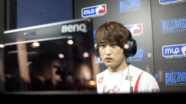 StarCraft legend Flash in the player's booth at MLG.