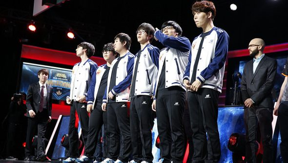 The SK Telecom team on stage in their blue and white jackets