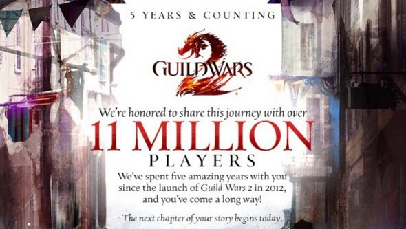 5 years, 2 expansions, 11 million players. This Guild Wars 2 infographic lays out the stats