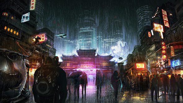 An artist's painting of a rainy, neon-lit night in a cyberpunk Hong Kong.