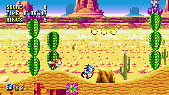 Sonic and Tails in the new Mirage Saloon zone