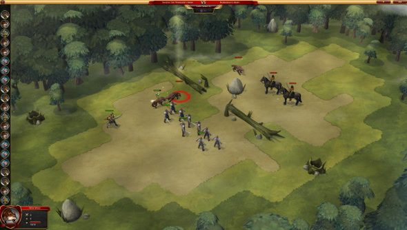 Two lines of soldiers drawn up on a pleasant green field, one side has regular troops and the other is filled with wild dogs.