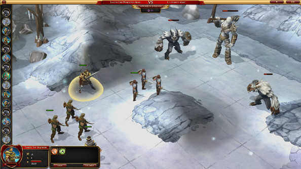 A battle with trolls and monsters on a snowy white plain.
