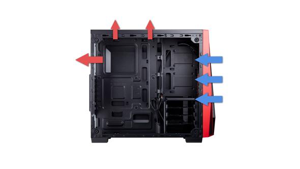 Liquid cooler case airflow