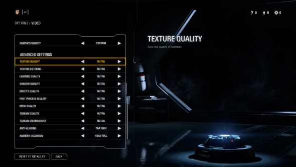 Star Wars Battlefront 2 PC graphics menu