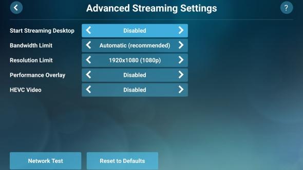 Steam Link app advanced settings