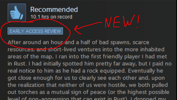 Steam Review Early Access notation