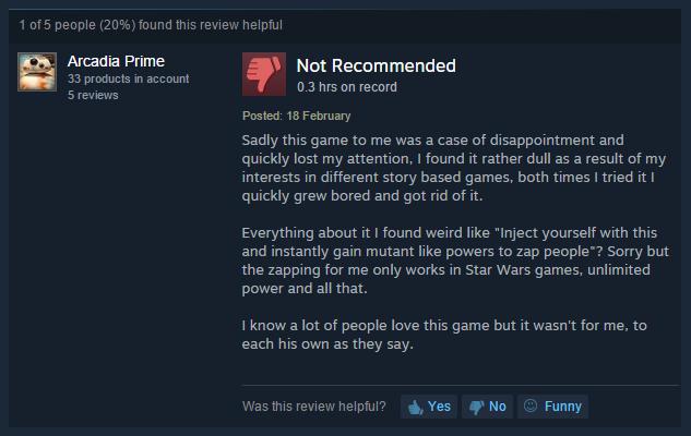 User reviews Bioshock
