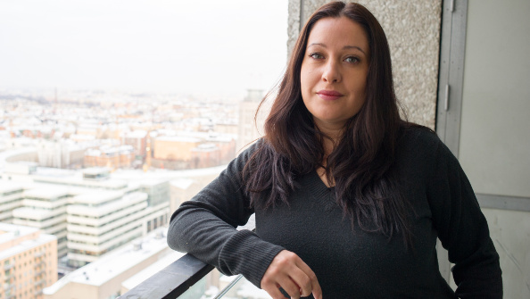 Paradox COO Susana Meza Graham at the Paradox offices in Stockholm, overlooking the city on an overcast day
