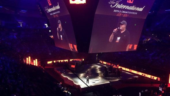 Gabe Newell stands on the stage at The International during opening ceremonies.