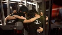 VG Huddle hup in a booth before their game at TI5
