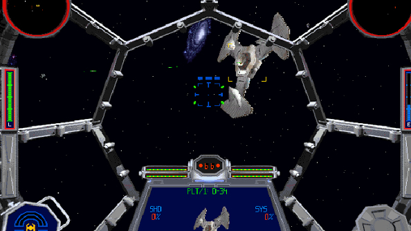 TIE Fighter screenshot of an attack on a space platform