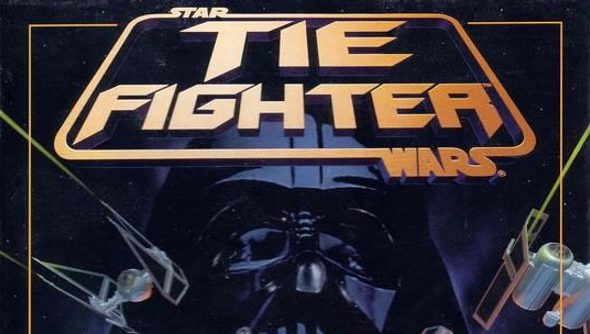 The cover for TIE Fighter, showing Darth Vader's grim visage in the backdrop of a raging space battle featuring TIE Fighters and a destroyed X-Wing.
