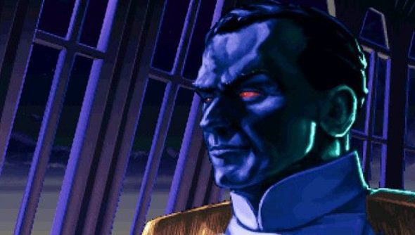 Blue-skinned Admiral Thrawn looks awesome as he gazes out a Star Destroyer viewport.