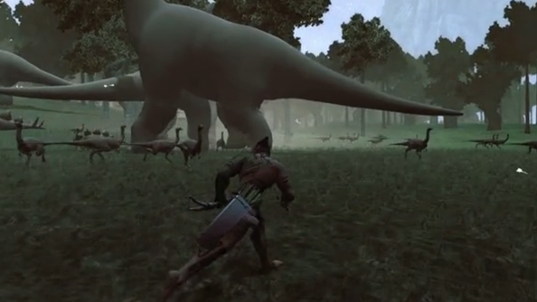 The Stomping Land has you hunt dinosaurs, camp with dinosaurs, and survive the dinosaurs