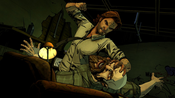 The Wolf Among Us screens show smoking pig and man being punched