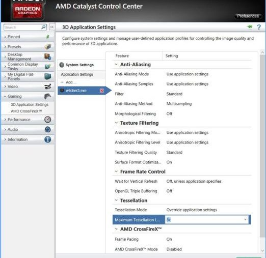 AMD Witcher 3 settings