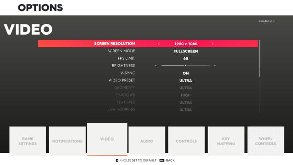 The Crew 2 PC graphics menu