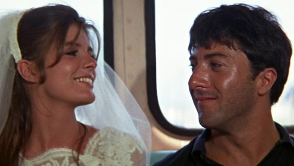 The end of the Graduate in which Elaine and Benjamin ride away together after she flees her wedding but the dread of the future oppresses them both.